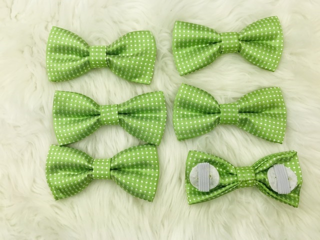 6 pack green bow tie with elastic straps