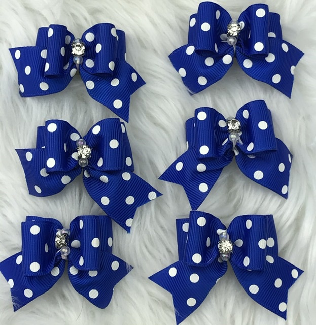 6 blue polka dot stiffened topknot bows