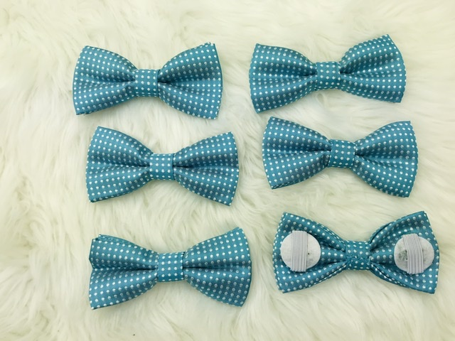 6 pack teal bow tie with elastic straps