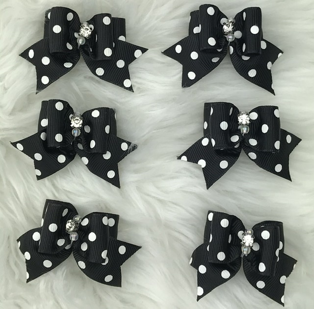 6 black polka dot stiffened topknot bows