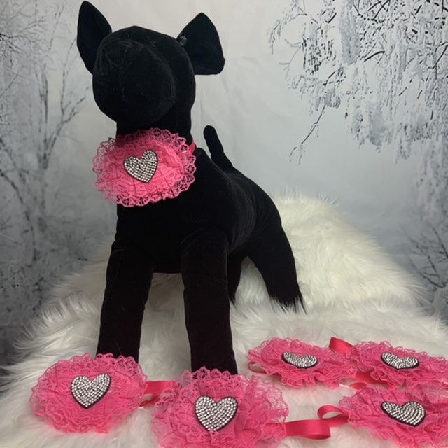 Lace and rhinestones valentines neckbands
