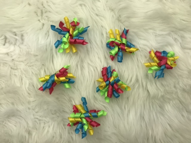 6 bright mix corkscrew bows