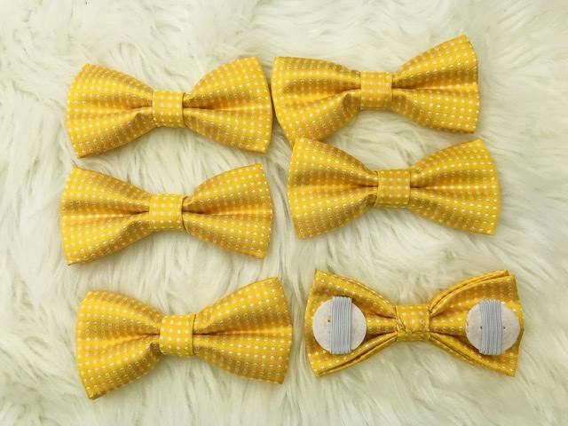 6 pk Yellow Collar bow tie with elastic straps