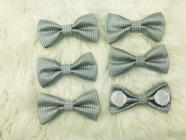 6 pack grey bow tie with elastic strap