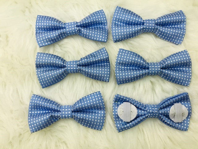 6 pack light blue bow tie with elastic straps