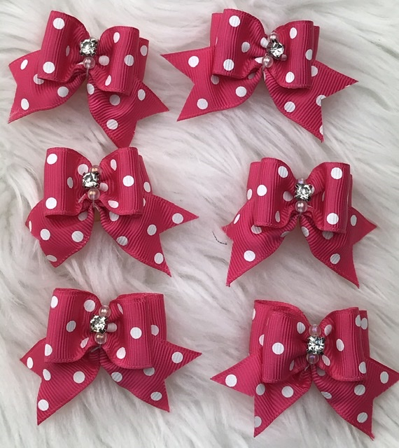 6 pink polka dot stiffened topknot bows