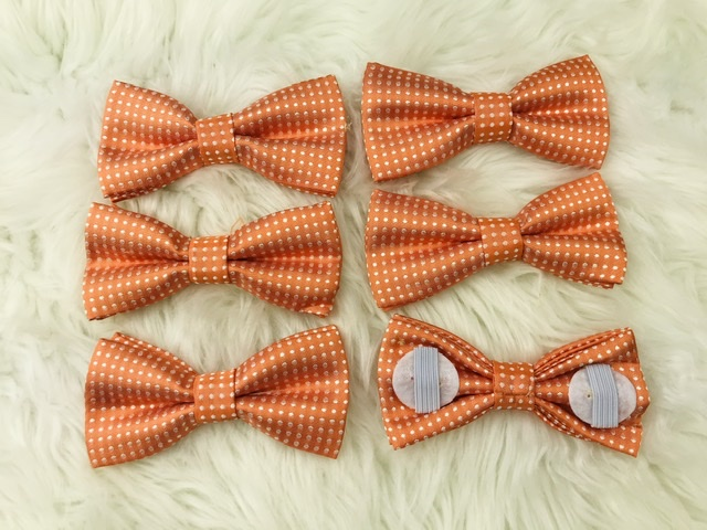 6 pack orange bow tie with elastic straps