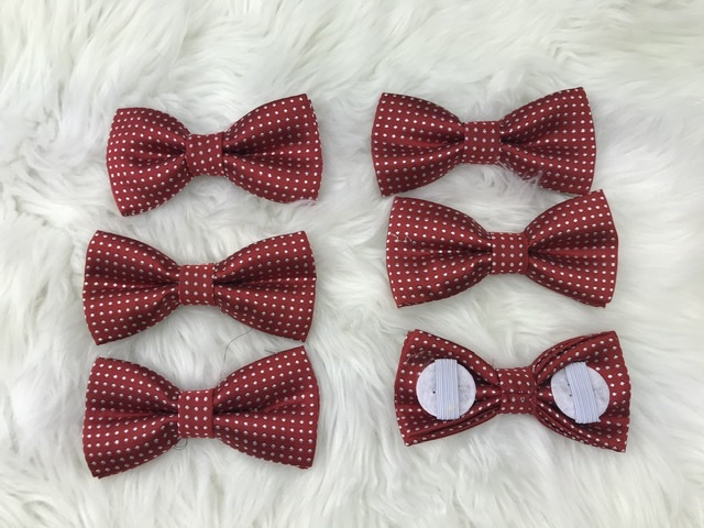 6 pack dark red bow tie with elastic straps