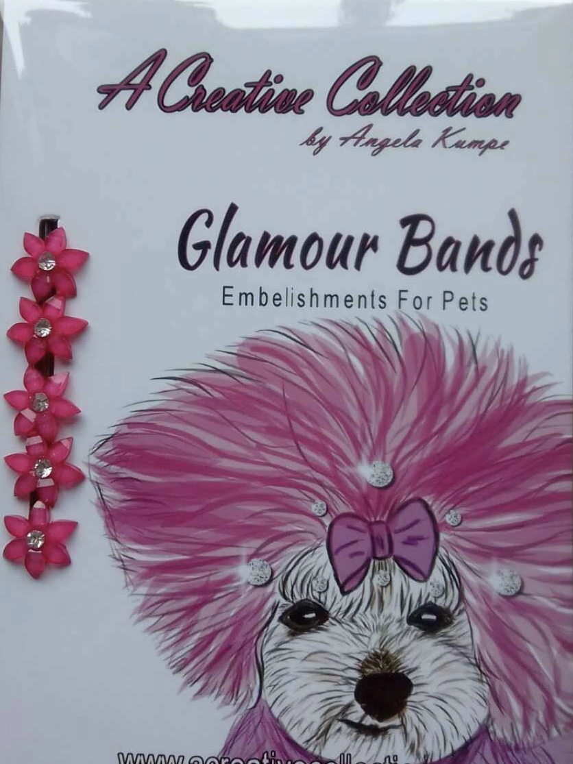 Hot pink rhinestone flowers glamour bands