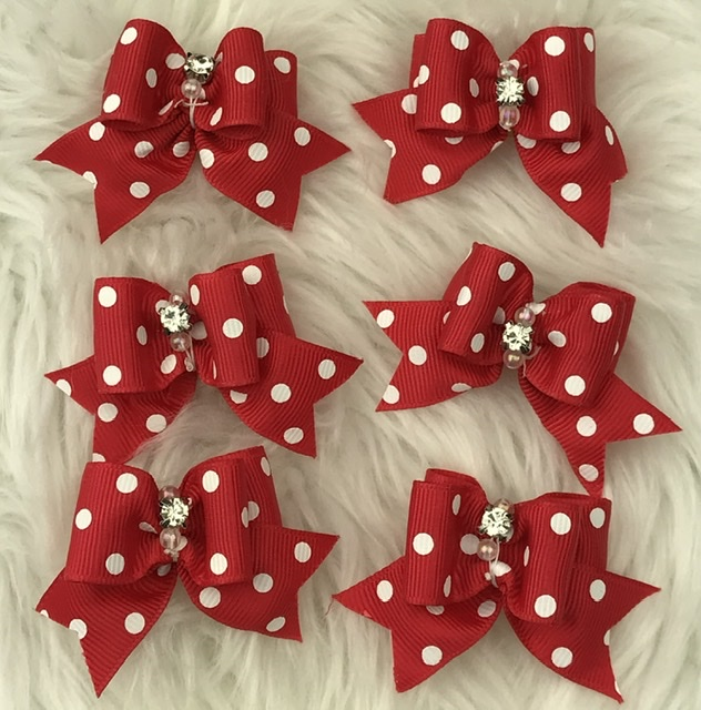 6 red polka dot stiffened topknot bows
