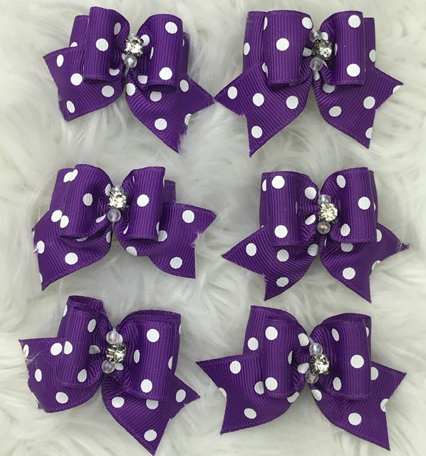 6 purple polka dot stiffened topknot bows