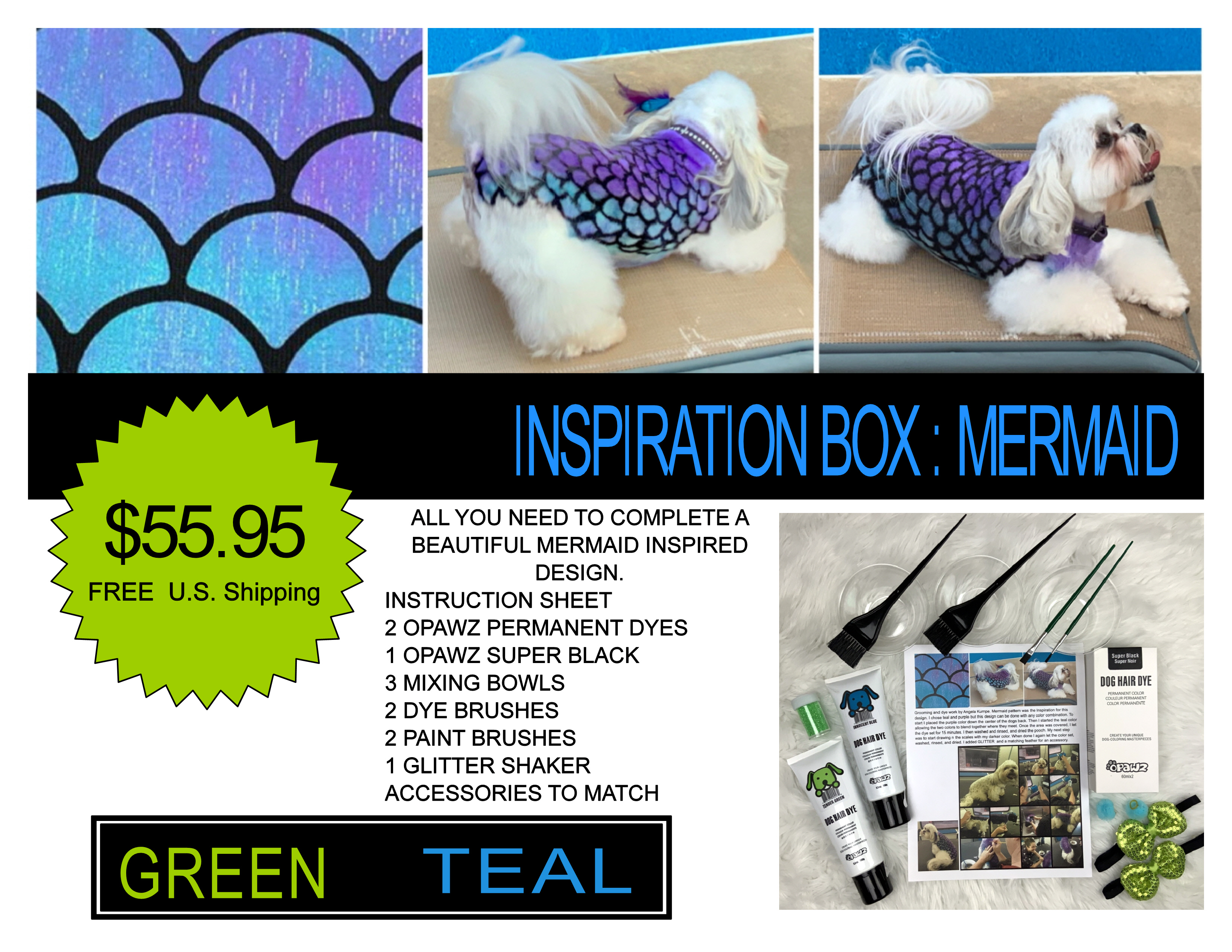 MERMAID inspiration box GREEN TEAL